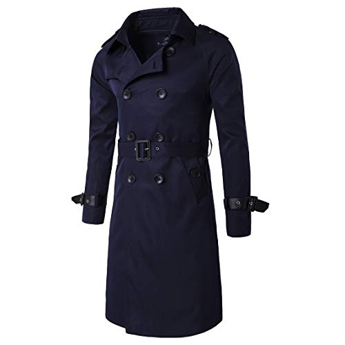 CuteRose Men Big and Tall Fall Winter Classic Double-Breasted Overcoat Trench Navy Blue S Wool Blend Trench