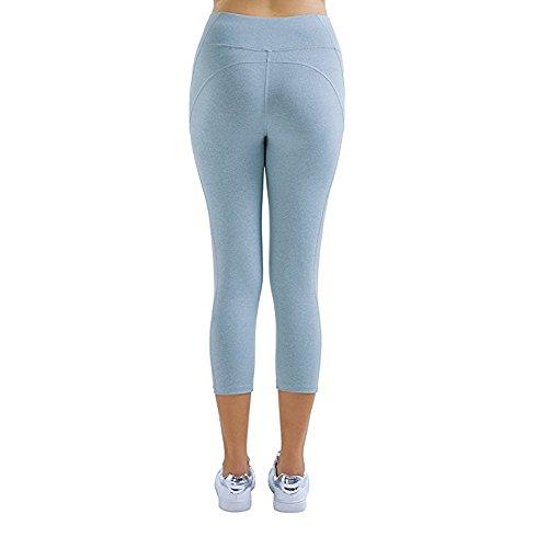 Sunny&Baby Pantaloni a vita alta da donna Vita alta Allenamento da corsa Palestra Leggings sportivi traspiranti Yoga atletica a metà polpaccio Elastico per donne Confortevole ( Color : Light Blue , Si Light Blue