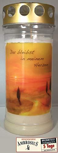 Ambrosius 5 Tage Grablicht Motiv Du bleibst in Meinem Herzen, garantiert 5 Tage Brenndauer bei jedem Wind und Wetter! ab 3+1 Gratis!!! -