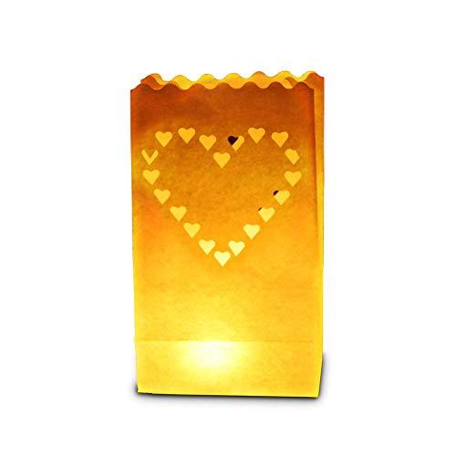 Candle Bags - Pack de 50 bolsas luminosas, diseño de corazón