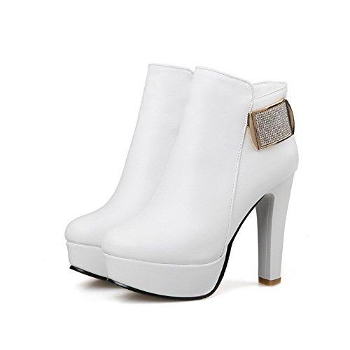 AgooLar Damen Rund Zehe Hoher Absatz Blend-Materialien Knöchel Hohe Rein Stiefel Weiß