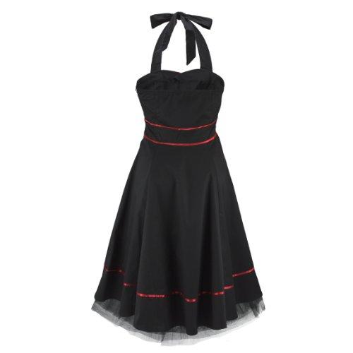 H&R London Robe RED PIPING PLAIN noir Noir