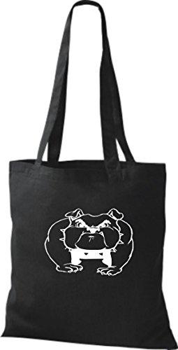ShirtInStyle Stoffbeutel Hunde Motive Rasse Hund Lustige Tiere Züchter diverse Farbe black