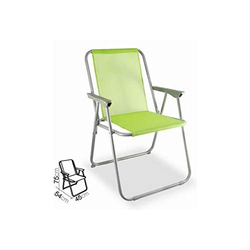 Cisne 2013, S.L. Silla Plegable de Aluminio con reposabrazos para Playa, jardín o Exteriores. Color Verde Anís. Silla Plegable Tumbona...