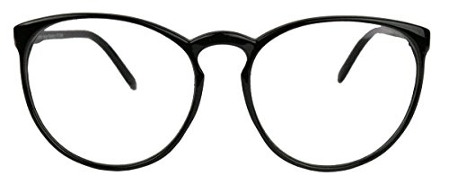 Classic Nerdbrille: große, fast runde Pantobrille filigrane Streberbrille Hornbrille clear lens...