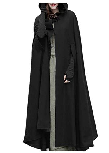 NPRADLA 2018 Mittelalter Umhang Damen Kapuze Einfarbig Elegant Frauen Trenchcoat Open Front Cardigan Jacke Mantel Cape Poncho Oversized(S,Schwarz)