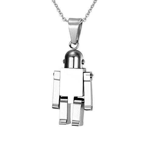 änger Herren Damen Roboter Anhänger Halskette Silber (4. Juli Kostüm Ideen)