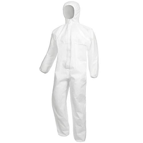 Nitras Polysafe Basic II Schutzanzug - Overall der Kategorie 3 - Einweg-Anzug für Herren - Weiß - Größe L (Kinder Weißen Anzug)