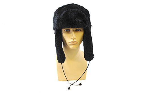 Black Faux Fur Trapper Russian Hat with Ear Flaps