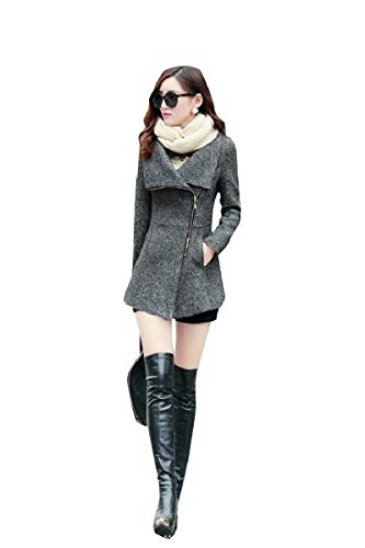 CuteRose Womens Warm Wool Blends Jackets Zipper Closure Tunic Duffle Coat Dark Grey XL