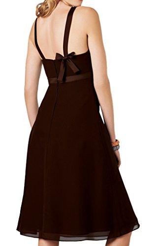 La_Marie Braut Chiffon Einfach Brautjungfernkleider U-ausschnitt Geraft Partykleider Kurz Promkleider Knie-lang Dunkel Gruen