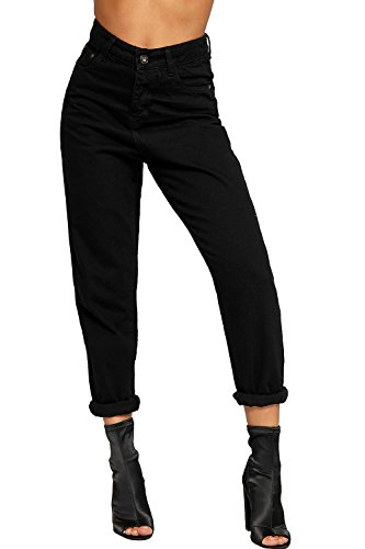 WEARALL Women's High Waisted Turn Up Boyfriend Straight Leg Denim Ladies Mom Jeans 6-16