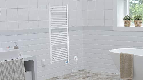 EISL BHKWZ1 Badheizkörper, Handtuchwärmer, Handtuchheizkörper, elektrisch mit Heizstab und Zeitschaltuhr, 50 x 120 cm,Weiß, -