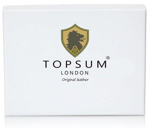 Topsum® London Designer RFID-Blockierung Ultra Schmales Leder 2 Fach Mini Kreditkarten Etui Leder Brieftasche - Kommt Mit Einer Geschenkbox #4022 (Braun) Schwarz