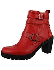 Art Leather Boot bota del tobillo del viaje Carmin Roja 0390