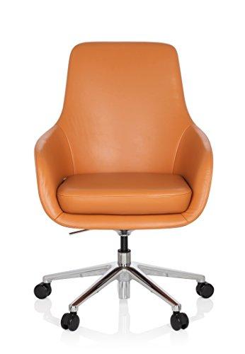 hjh OFFICE 600981 Lounge Sessel BARENO Echt Leder Orange hochwertiger Drehsessel bequem gepolstert
