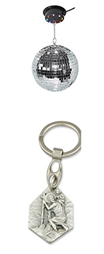 LED-Multicolor Spiegelkugel Set 200 mm, Discokugel, Drehkugel, Mirrorball (902988204792) mit Anhänger Hlg. Christophorus