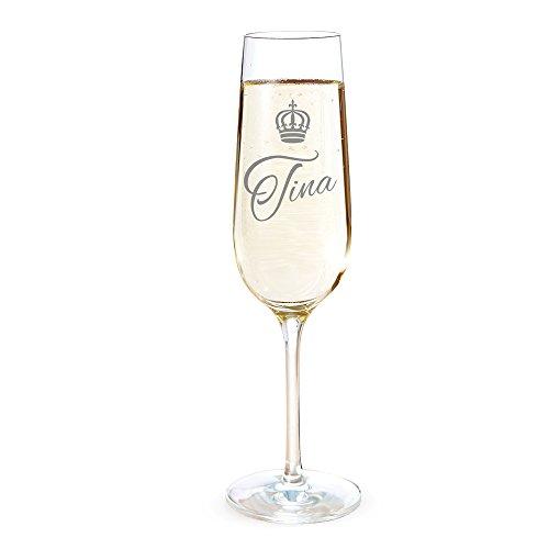 AMAVEL - Flûte à champagne avec gravure - Royal - Personnalisée avec nom - Idée cadeau d'anniversaire, d'enterrement de vie de garçon/jeune fille, de mariage - Volume: env. 0,2 l
