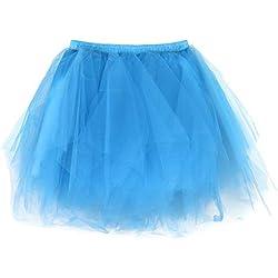 Andouy Damen Tutu Rock Tüll Mix Bunte Petticoat Ballett Tanz Organza Geschichteten Kostüm Dress-up sexy Größe 36-46(36-46,Himmelblau)