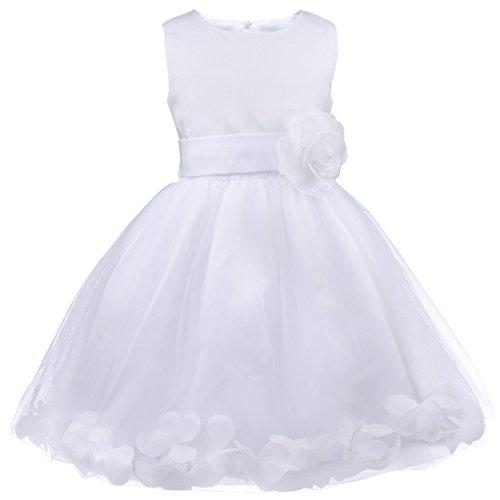 Freebily Vestido Elegante Boda Fiesta con Flores para Niña Vestido Blanco de Princesa para Chica Dama de Honor Blanco 2 años