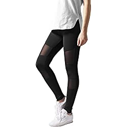Urban Classics Ladies Tech Mesh, Leggings para Mujer, Negro (Black 7), X-Small