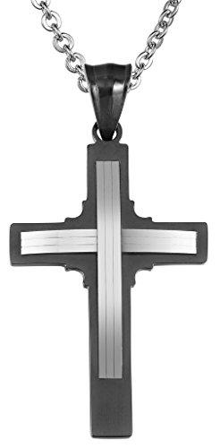Uomo Ciondolo nero dell'acciaio inossidabile Christian Cross stratificata Finito con la catena a caso di AieniD