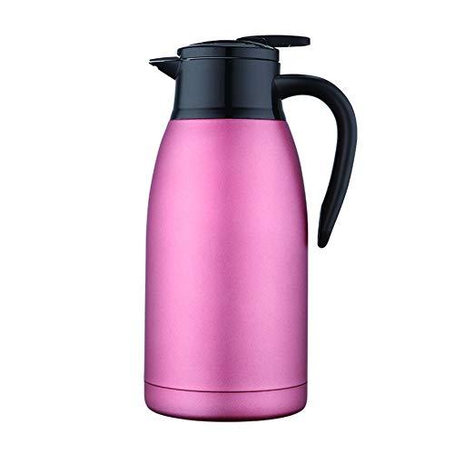 GY Edelstahl 304 Vakuumisolierungstopf Doppelte Thermosflasche Kaffeekanne Wasserkocher Geschenkkessel,Pink,2L