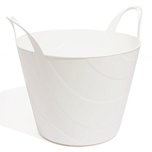 Flexibler Korb Gartenkorb Gummikorb weiss Tragekorb 30 L Einkaufskorb Kunststoff