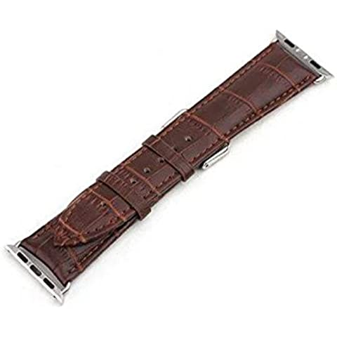 Cinturino in pelle di coccodrillo per iWatch Band braccialetto resistente orologio da polso fascia Fashion Band per Apple Watch - 22 Pelle Mm Brown