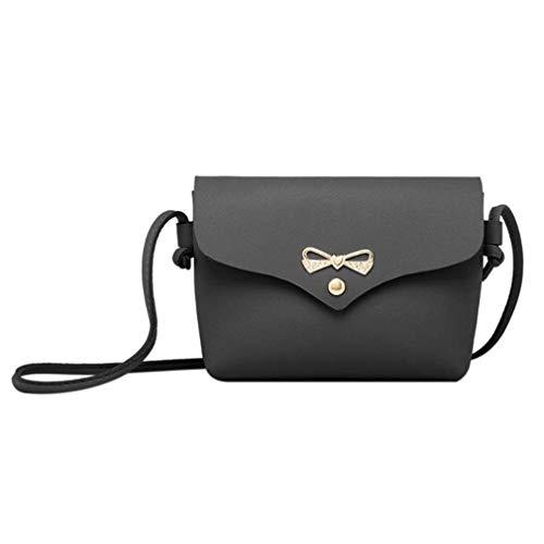 LIXIAQ1 Mode Bogen Knoten Dekoration Mini Weiche PU Leder Single Strap Umhängetasche Crossbody Tasche Kleine Flap Bag Handytasche, Schwarz