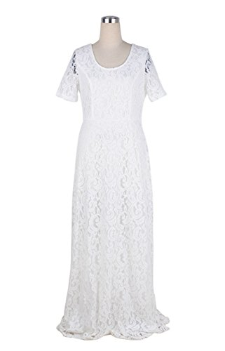 Suimiki Damen Übergröße schnüren Gefüttert Kleid Festlich Kleider Elegant Lang Abschlussball-Kleid-Cocktailparty Ballkleid Brautkleider - Größe 44-54 Weiß