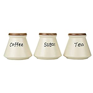 Porcelain Tea Coffee Sugar Canister Set Black White Storage Jar Set 3 with Wooden Lids