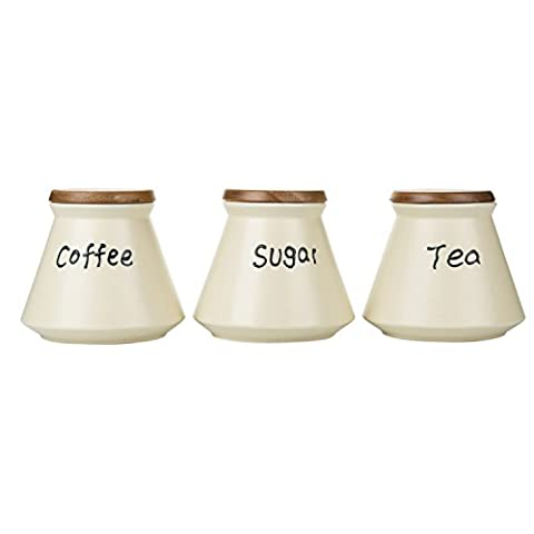 Porcelain Tea Coffee Sugar Canister Set Black White Storage Jar Set 3 with Wooden Lids (White)