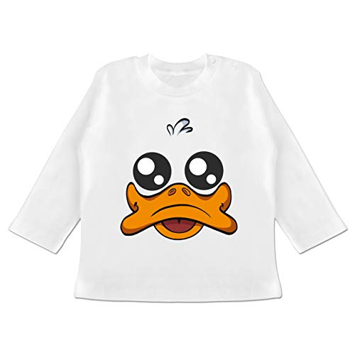 Kostüm Weiße Gesicht Das - Karneval und Fasching Baby - Ente Kostüm Gesicht - 3-6 Monate - Weiß - BZ11 - Baby T-Shirt Langarm