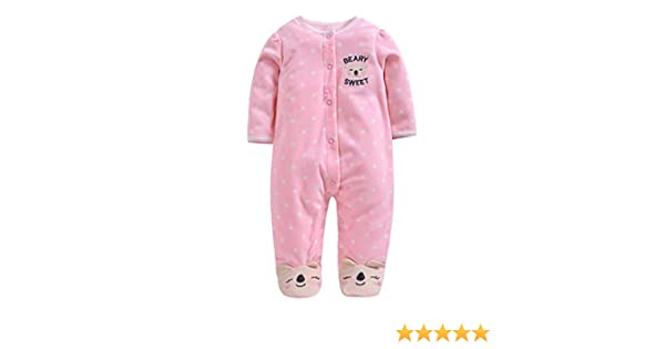 Baby Fleece Romper Cartoon Footies Jumpsuit Spring//Autumn//Winter Bodysuit Cute Sleepsuit 3-6 Months