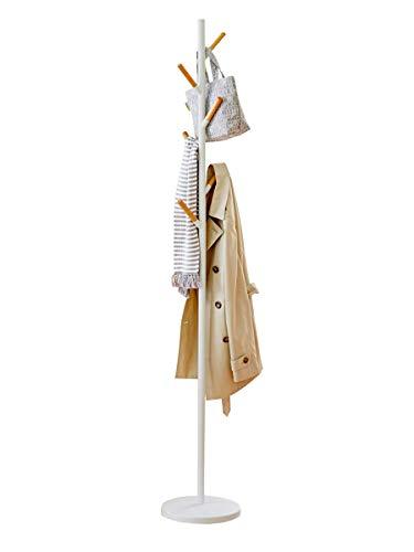 Vlush Garderobenständer,Garderoben ständer Vintage, Kleiderständer, Flurgarderobe, Holz, Stabil Metall,schweren Fuß, 32×32×175cm (Weiß)