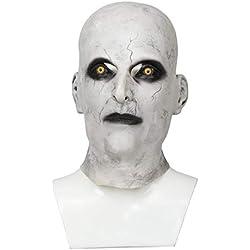 Mesky Mask Valak The Nun Máscara para Halloween Adultos Monja el Diablo Disfraz de Terror Casco de Cabeza Completa Accesorio de Látex Blanco