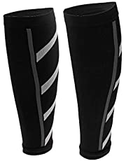 Electomania 1 Pair Calf Compression Sleeve for Men & Women - Calf Compression Socks for Running Calf Pain Relief Leg Support Sleeve for Runners Cycling (Black)
