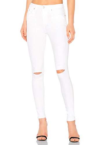 Pantalón Tregging Vaquero Skinny Fit Jegging Push Up de Mujer Algodón con Rasgados(Blanco, ES34)
