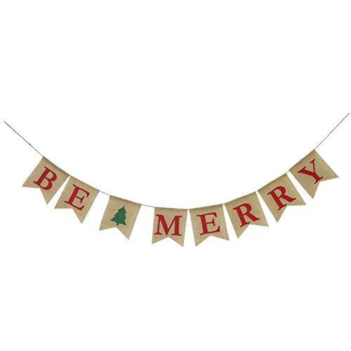Partyprops Be Merry Jute Banner | Weihnachten Jute Banner | Weihnachtsbaum Girlande | Urlaub Wimpelkette | Home Garden Indoor Outdoor Banner | Natur Jute Banner | Weihnachten Decor Dekorationen (Winter-kranz Sackleinen)