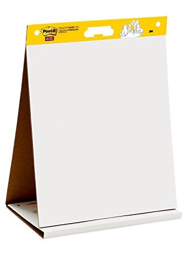 """Post-it""""Super Sticky Meeting Chart"""" Mobiles Tisch Flipchart mit integriertem Aufsteller - zusammenklappbar – 1x Flipchartblock weiß in 50,8 x 58,4 cm à 20 Blatt"""