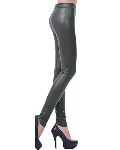 Legging Skinny Imitation Cuir pour Femme Stretch Pantalon Jegging Slim Collants Armée verte