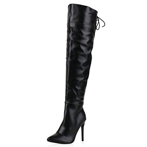 napoli-fashion Gefütterte Damen Schuhe Overknees Stilettos Langschaft Stiefel Schwarz Schleifen 36 Jennika
