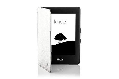 azon Kindle Voyage Smart Hülle Schutzhülle Tasche Bumper Folio Smart Case Cover Stand - Ultra Dünn und Leicht mit Rundum-Geräteschutz und intelligente Auto Schlaf / Wach Funktion inkl. Eingabestift (WEIß) ()