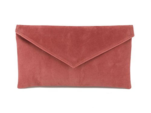 Loni Neat Umschlag Faux Wildleder Clutch Bag/Schultertasche in Elfenbein Altrosa