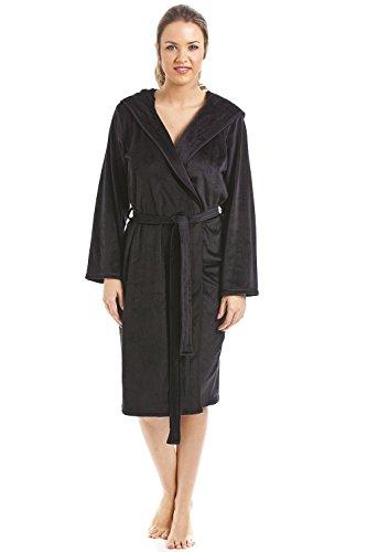 Camille - Robe de chambre longueur genoux pour femme - velours doux - noir Noir