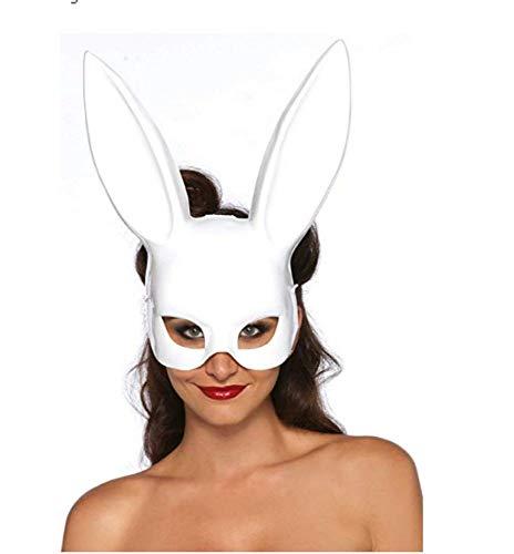 e Rabbit Mask, Erwachsene Bunny Maske Frauen Kaninchen Maske Bunny Rabbit Maske für Geburtstagsfeier Ostern Halloween Bar Kostüm Cosplay Zubehör (Reines Weiß, OneSize) ()