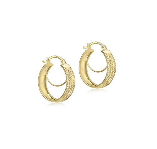 Carissima Gold Damen Diamantschliff Doppel Hoop Kreol Ohrringe 9k (375) Gelbgold 19 mm
