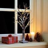 60 cm 24 LED Mini árbol de Navidad rústico esmerilado diseño con luces de Navidad con ramitas Batería