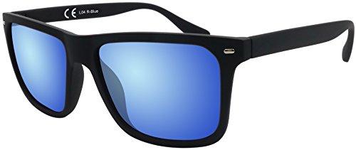 La Optica Original Verspiegelte UV400 Herren Sonnenbrille Eckig - Farben, Einzel-/Doppelpacks (Einzelpack Gummiert Schwarz (Gläser: Blau verspiegelt))